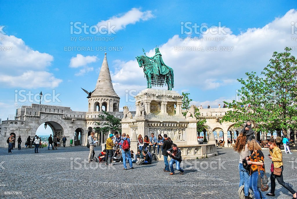 Statue of the first Hungarian king Saint Stephen in Budapest. stock photo