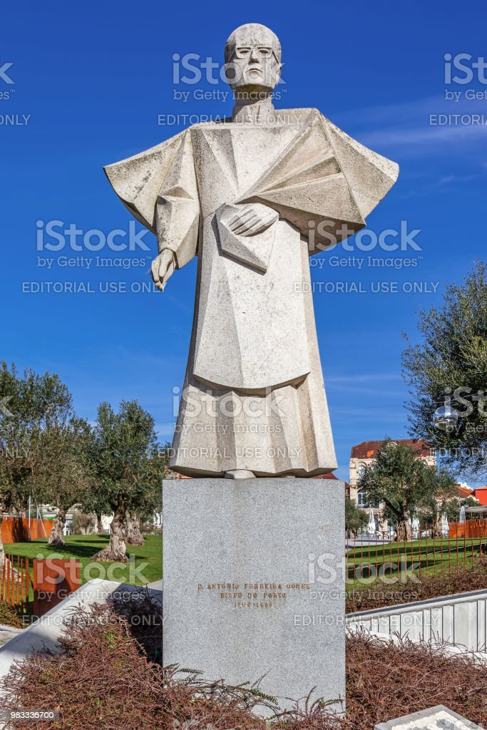 Statue of the former Porto Bishop, Dom Antonio Ferreira Gomes. stock photo