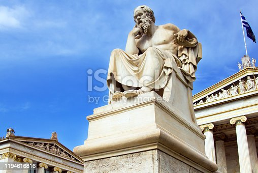 Statue of the Great philosopher Socrates outside the Academy of Athens main building, in central Athens. Plato was a philosopher in Classical Greece and the founder of the Academy of Athens.