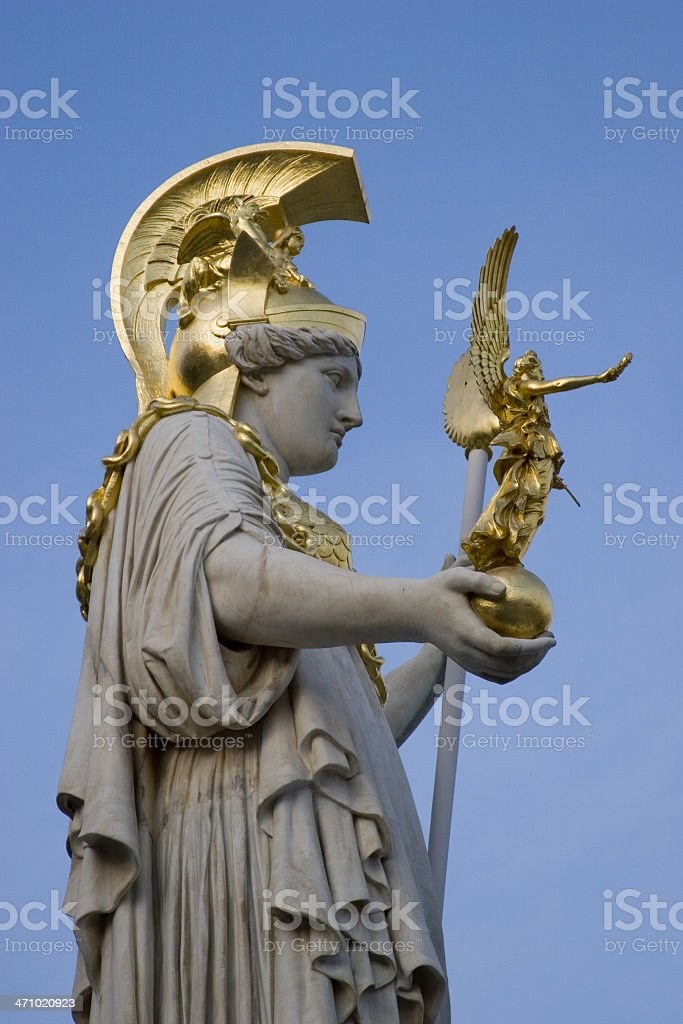 statue of the greek goddesses athene and nike stock photo