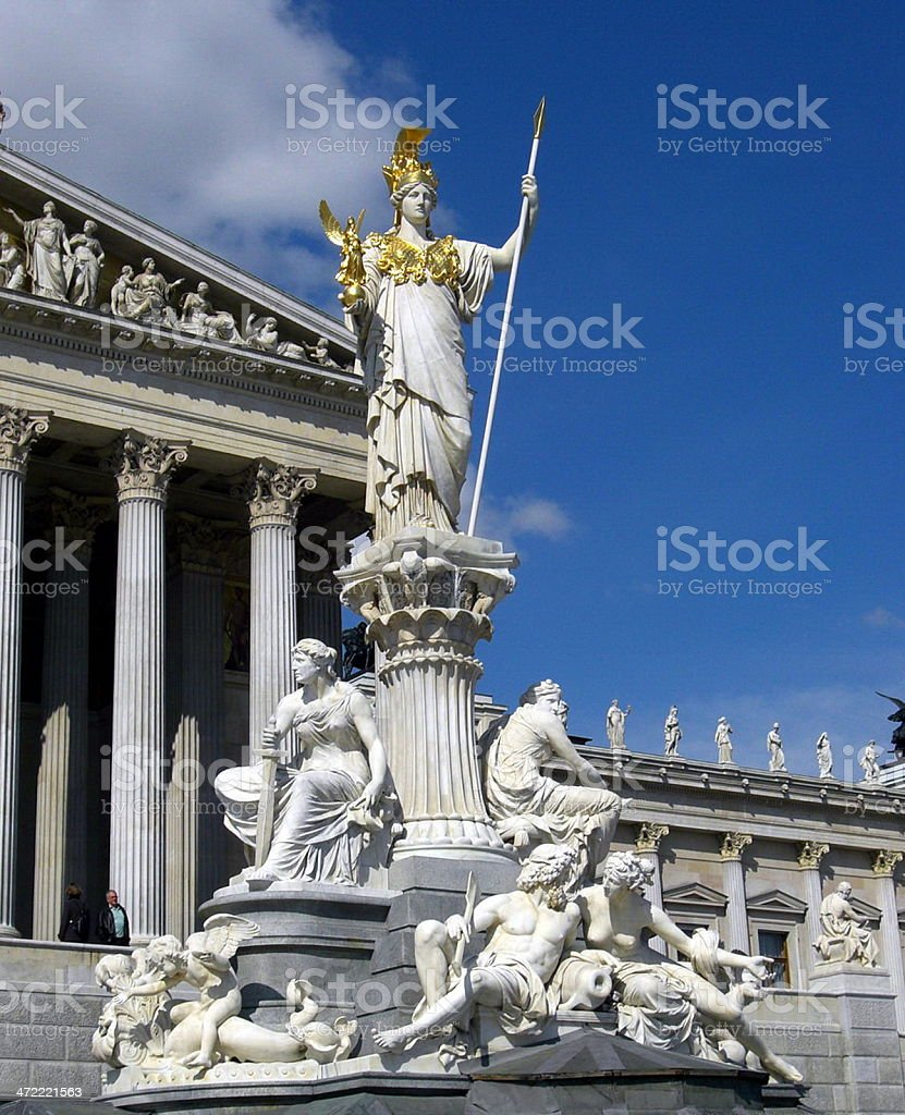 statue of the greek goddesses athene and nike royalty-free stock photo