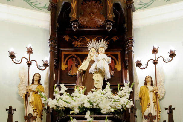 Statue of the image of Our Lady of Carmel - Nossa Senhora do Carmo stock photo