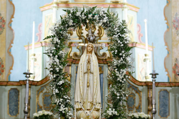 Statue of the image of Our Lady of Fatima stock photo