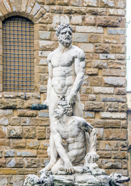 statue of the Italian Florentine Renaissance: Hercules and Cacus stock photo