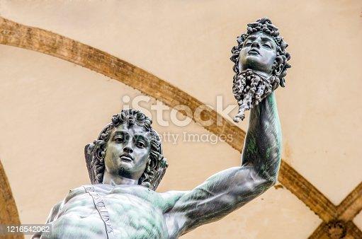 florence statue in piazza della signoria, the italian florentine renaissance: the perseus of cellini