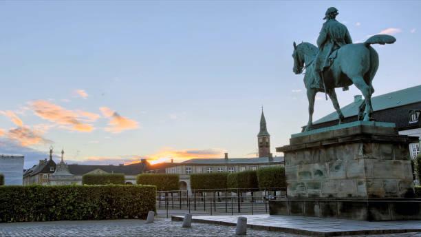 statue of the King Christian IX att sunrise Copenhagen Denmark stock photo