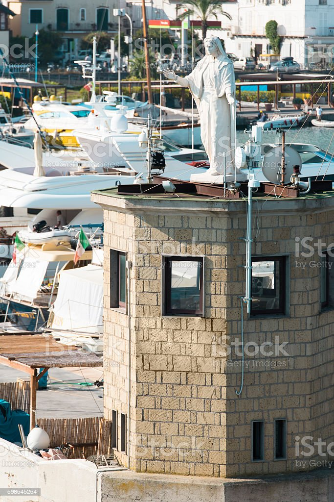 statue of the Madonna in the port of Casamicciola Ischia stock photo