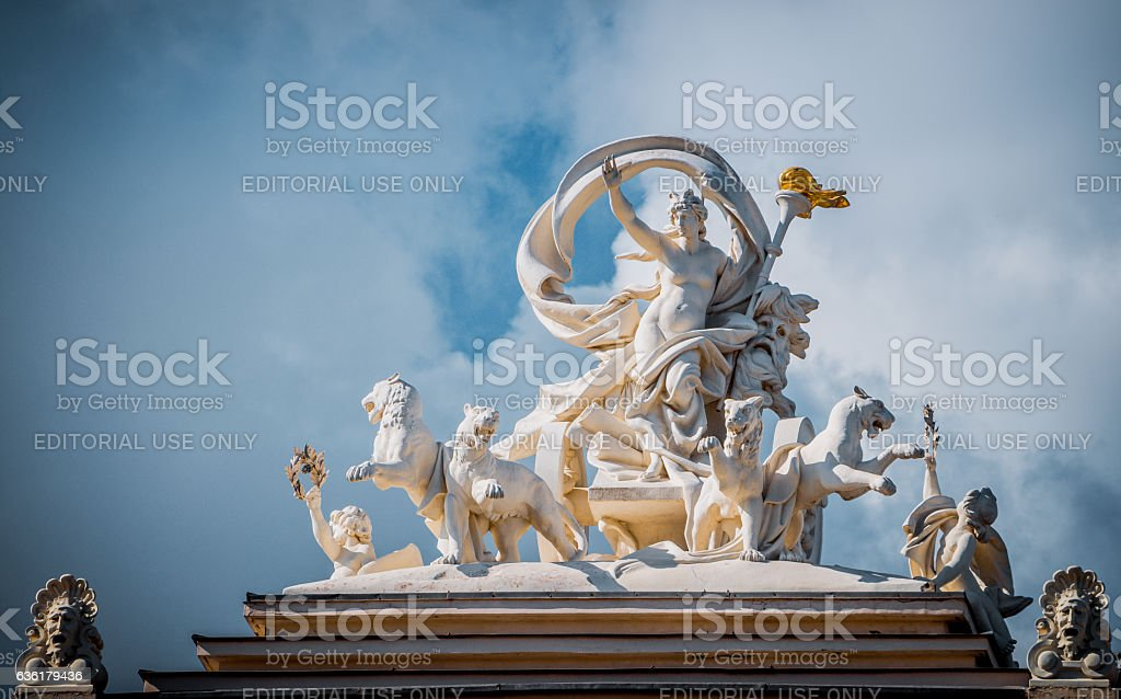 Statue of the Muse Melpomene. Odessa Opera theatre stock photo
