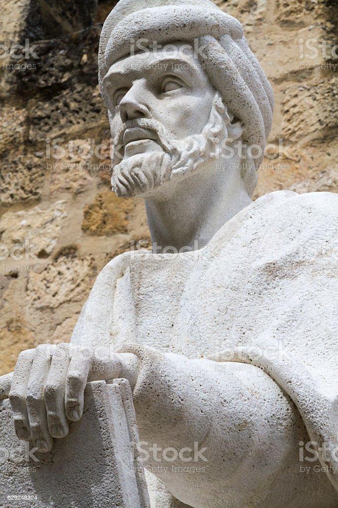 Statue of the philosopher Averroes in Cordoba stock photo