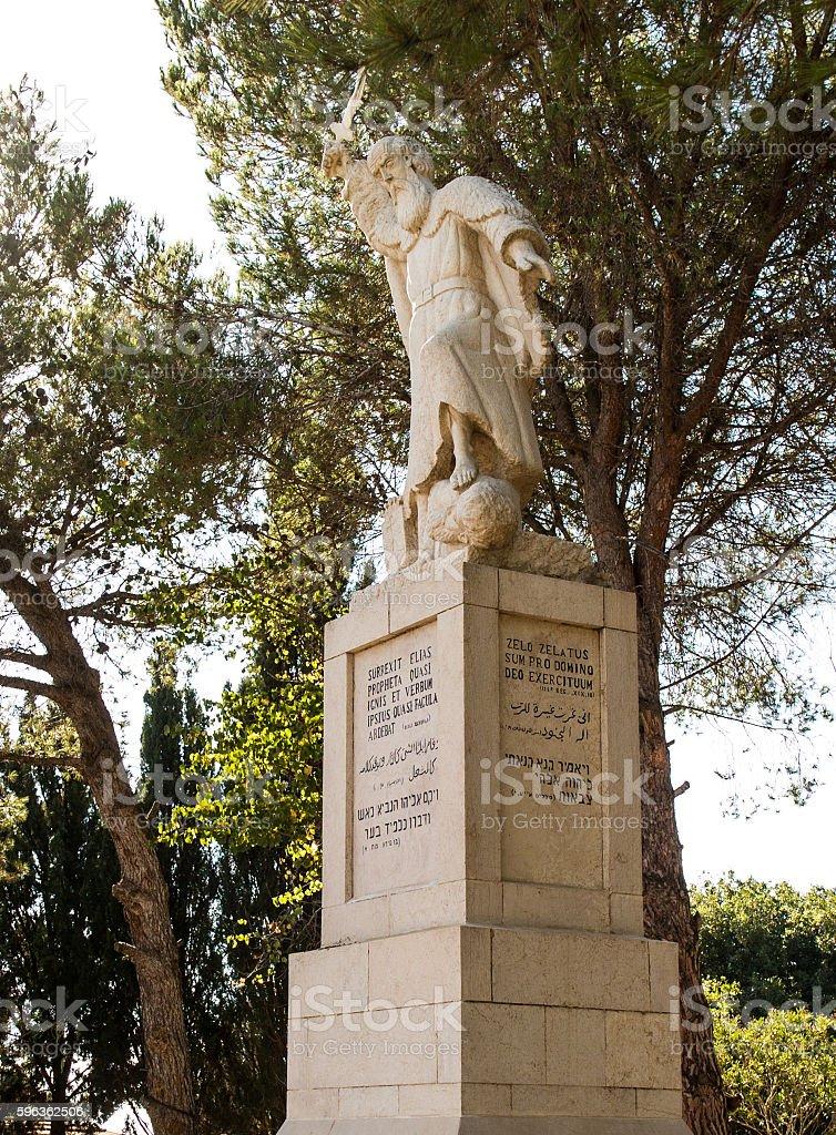 statue of the prophet Elijah on Mount Caramel, royalty-free stock photo