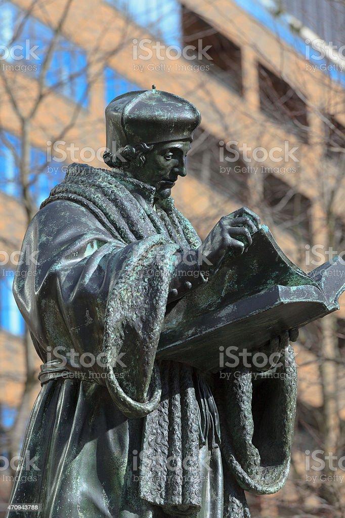 statue of the Renaissance humanist, theologian and philosopher Desiderius Erasmus stock photo