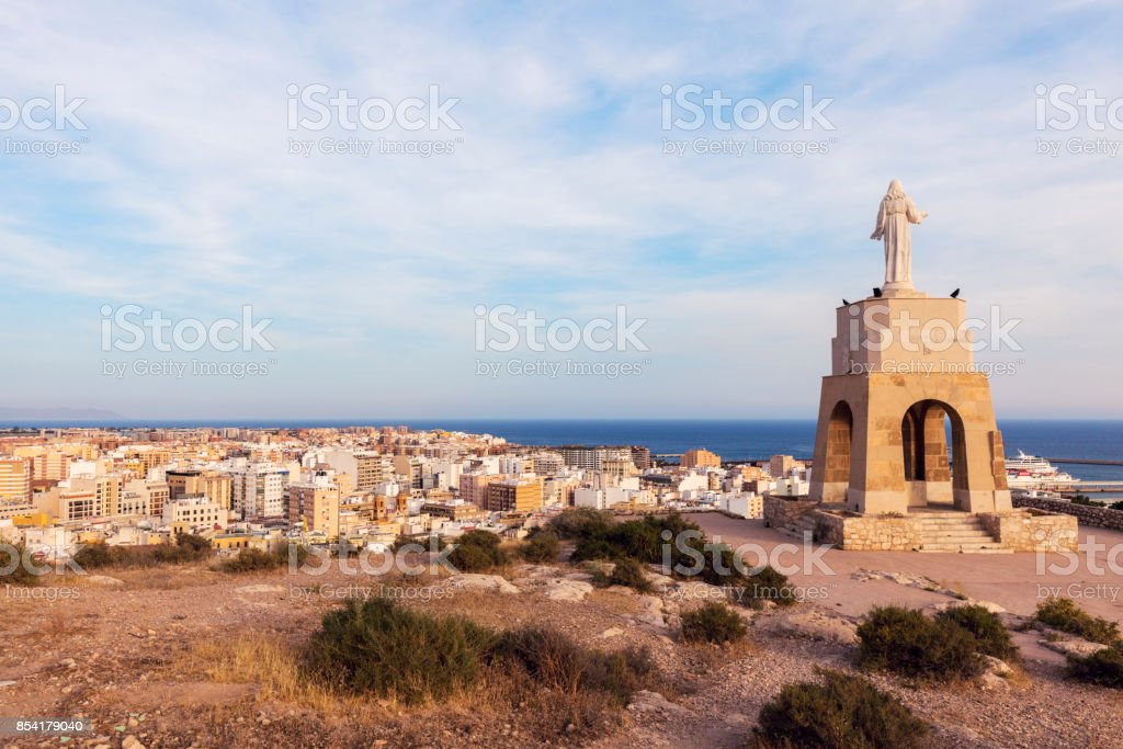 Statue of the Sacred Heart of Jesus in Almeria stock photo