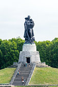 Berlin, Germany - August 18, 2018: Statue of the Soldier-Liberator at Soviet War Memorial in Treptower Park.