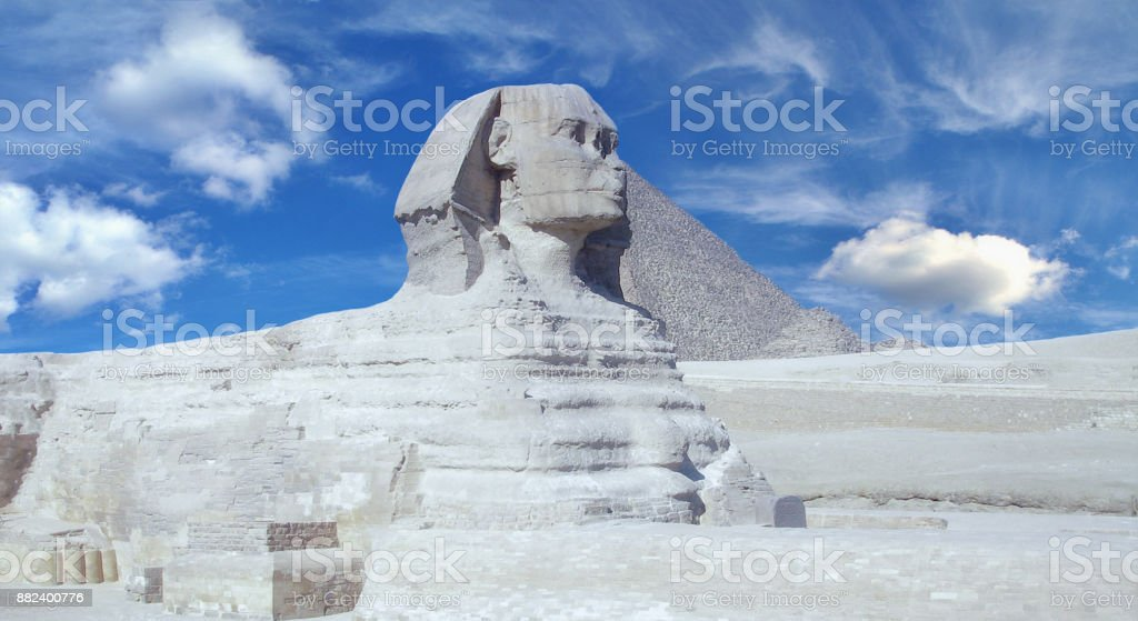 Statue of the Sphinx in Egypt. stock photo
