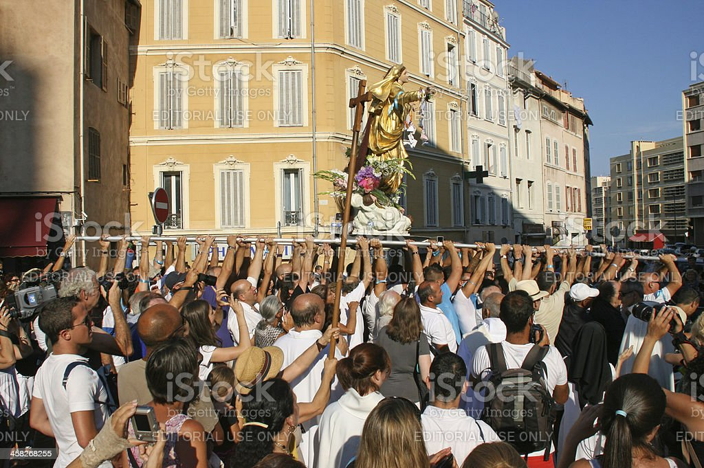 Statue of the virgin Mary, Assumption procession in Marseille, France. royalty-free stock photo