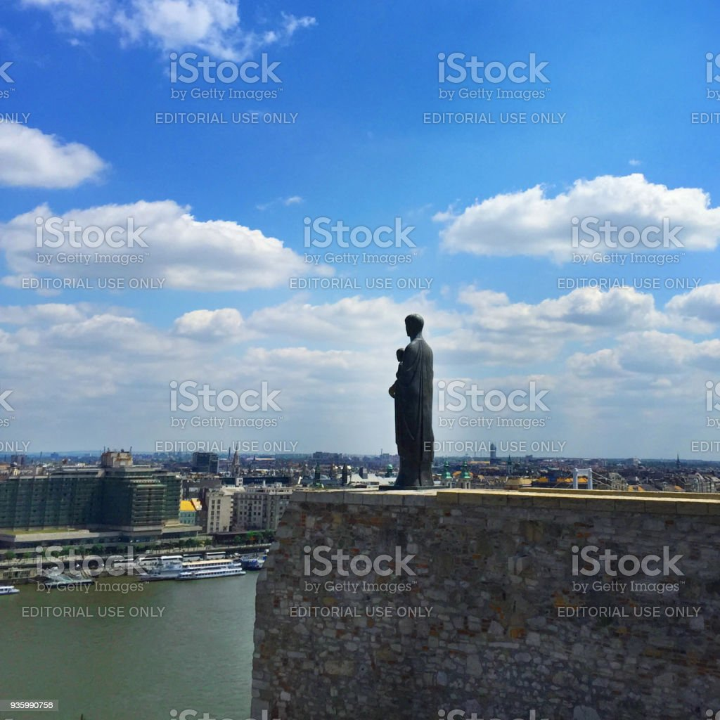 A statue of the Virgin Mary in Buda castle stock photo