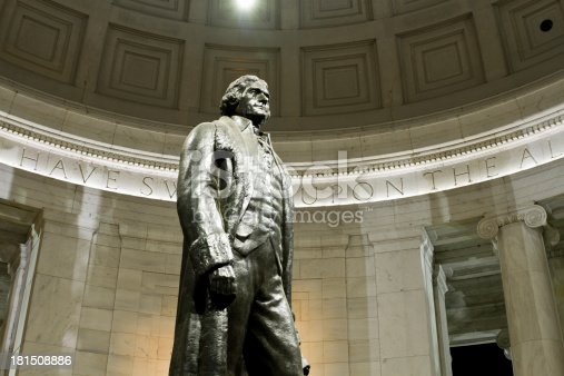 istock Statue of Thomas Jefferson inside memorial in Washington DC 181508886