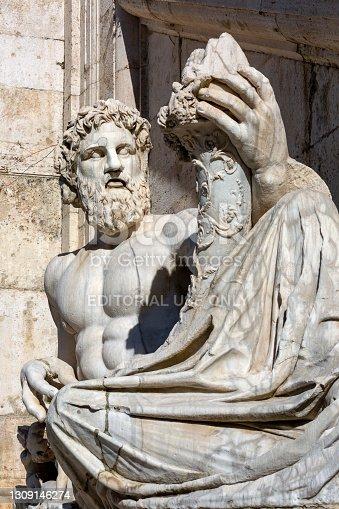 Rome, Italy - October 8,  2020: Statue of Tiber River God (Tiberinus) on Capitoline Hill on Piazza del Campidoglio designed by Michelangelo