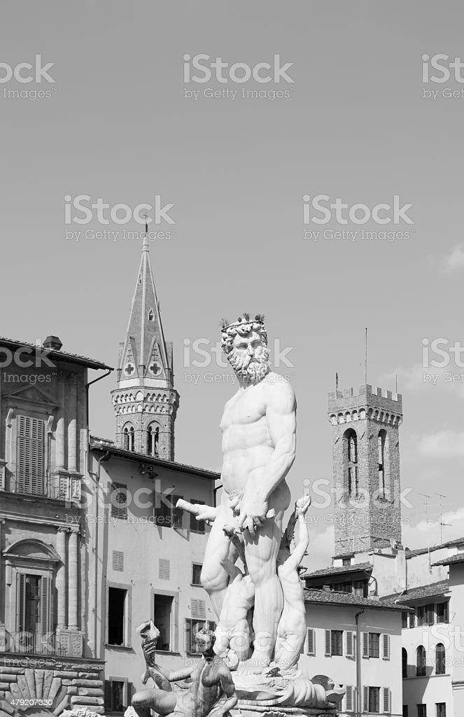 Statue of Triton in Piazza della Signoria in Florence, Tuscany stock photo