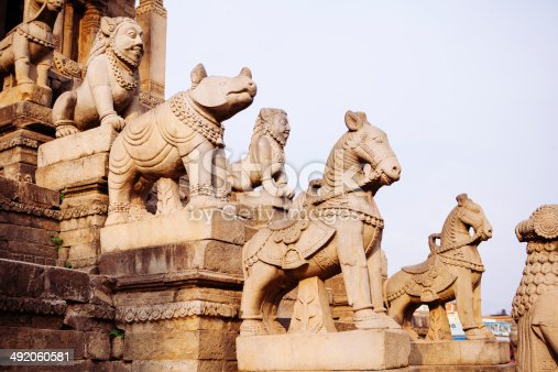 Statue of various animals guarding a temple in Bhaktapur, Nepal.