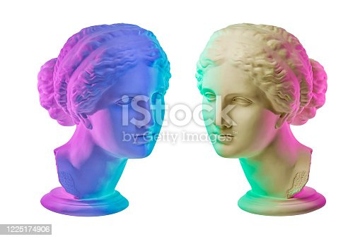 istock Statue of Venus de Milo. Creative concept colorful neon image with ancient greek sculpture Venus or Aphrodite head. Webpunk, vaporwave and surreal art style. Isolated on a white. 1225174906