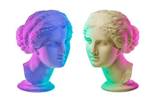 Statue of Venus de Milo. Creative concept colorful neon image with ancient greek sculpture Venus or Aphrodite head. Isolated on a white background. Webpunk, vaporwave and surreal art style.