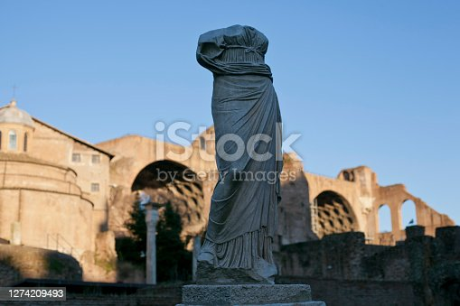 Roma, Italy - 29th december 2014: One of the headless statues of vestal virgins in the Roman Forum.