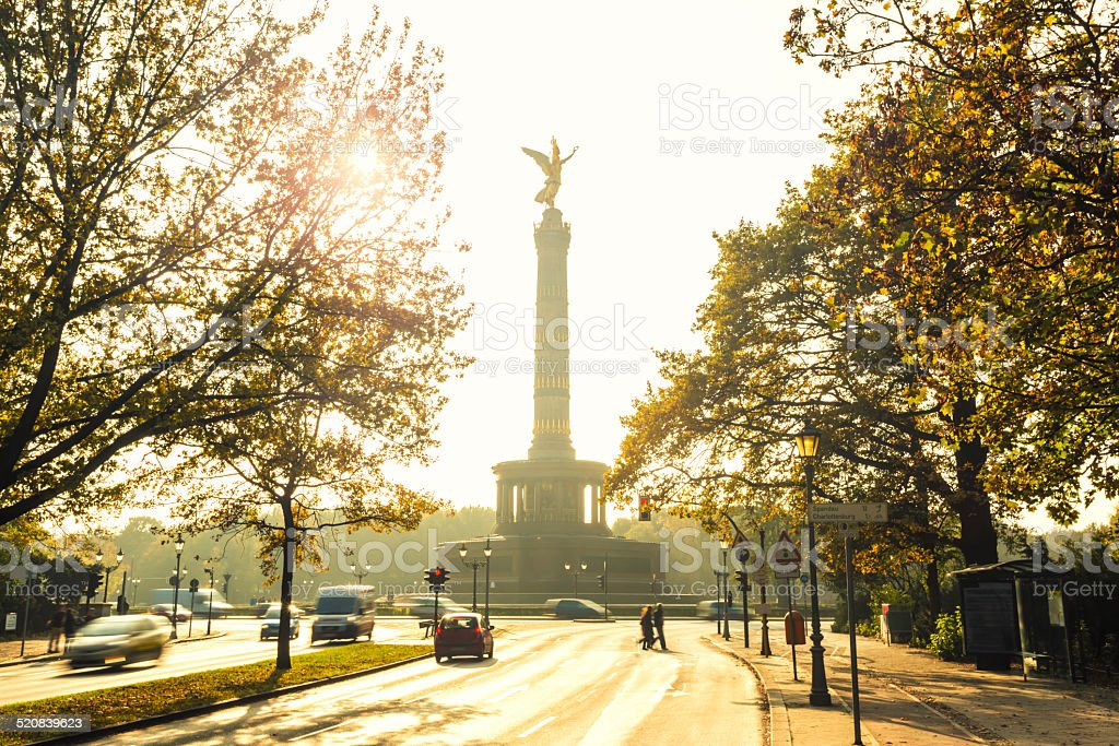 Statue Of Victoria with sunlight stock photo