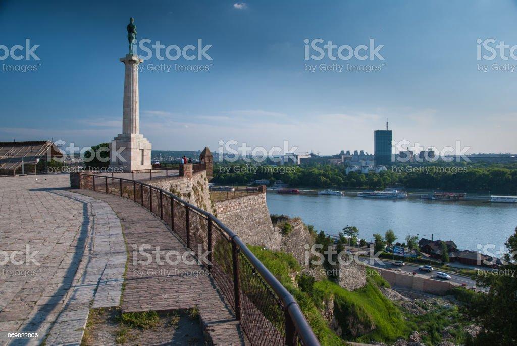 Statue of victory in Kalemegdan, Belgrade stock photo