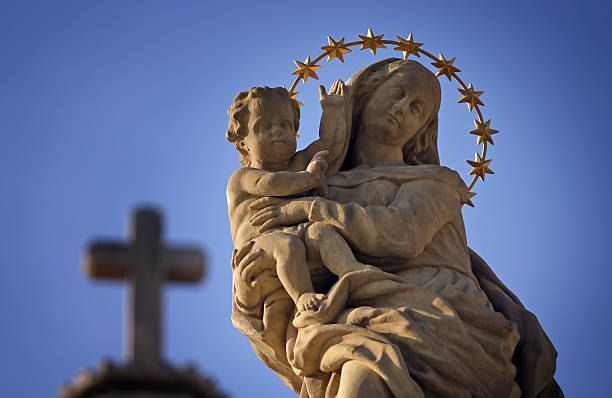 Statue of Virgin Mary and Jesus stock photo