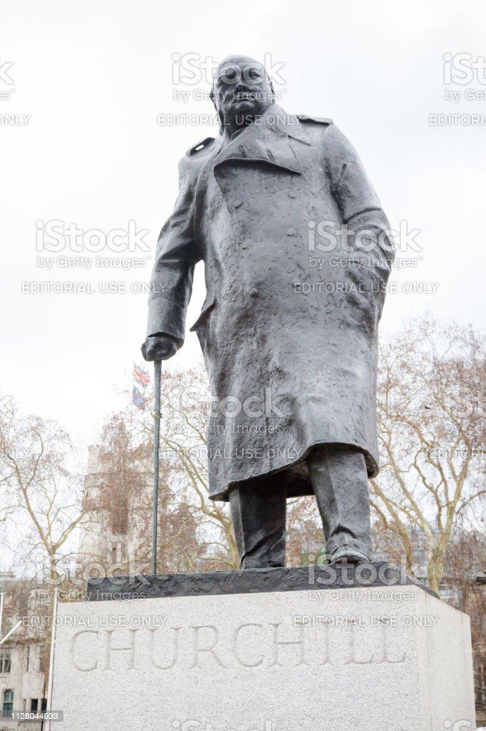 Statue of Winston Churchill, Parliament Square, London stock photo