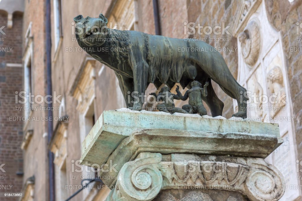 Statue of Wolf with Romulus and Remus on Capitoline hill in city of Rome, Italy stock photo