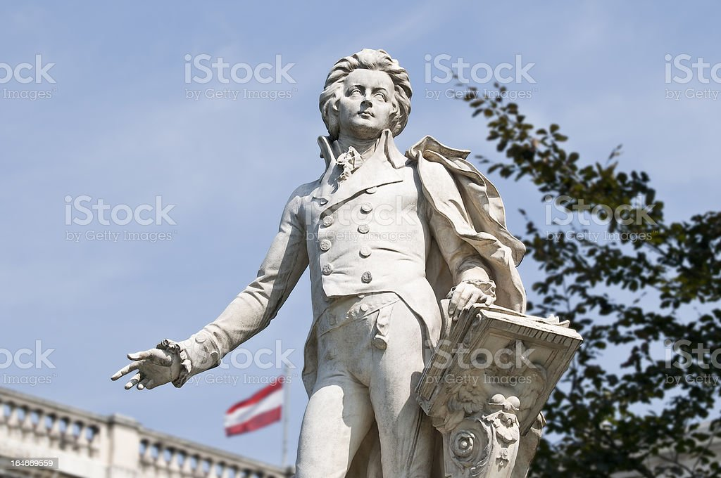 Statue of Wolfgang Amadeus Mozart, located in the Burggarten in Vienna. royalty-free stock photo