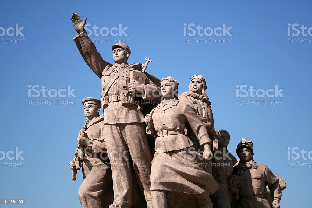Statue of workers stock photo
