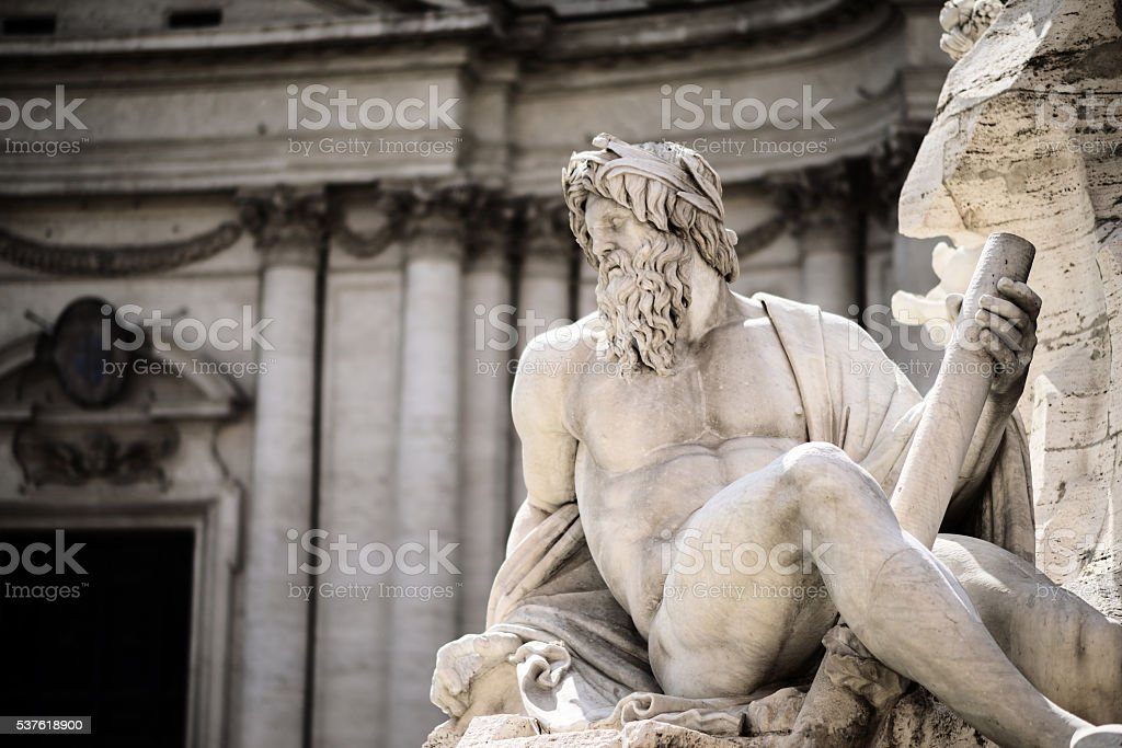 Estátua de Zeus em de Trevi, Piazza Navona, Roma, Itália - Foto de stock de Adulto royalty-free