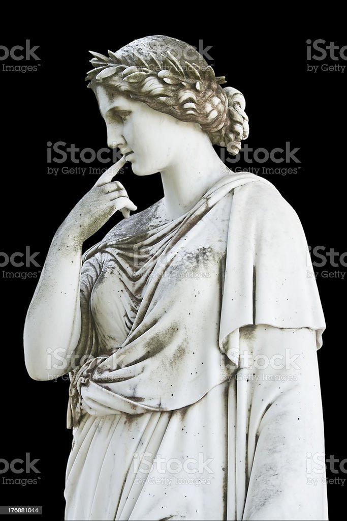 Statue on black background showing a greek mythical muse stock photo