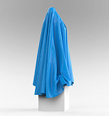 statue on cube podium draped with glossy satin cloth. Before