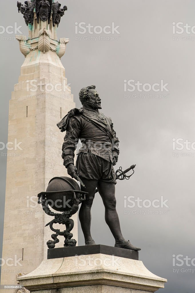 Statue On Plymouth Hoe stock photo