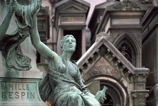Statue on the Père Lachaise cemetery, Paris, France