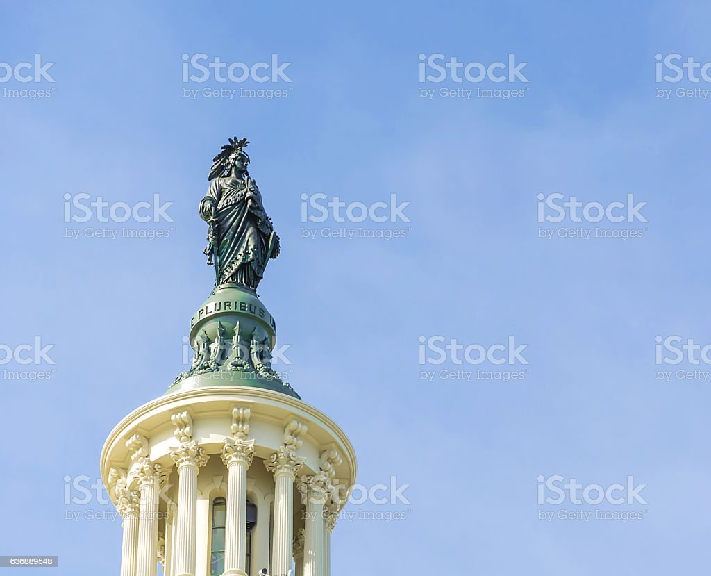Statue on top of Capitol Building Washington DC stock photo