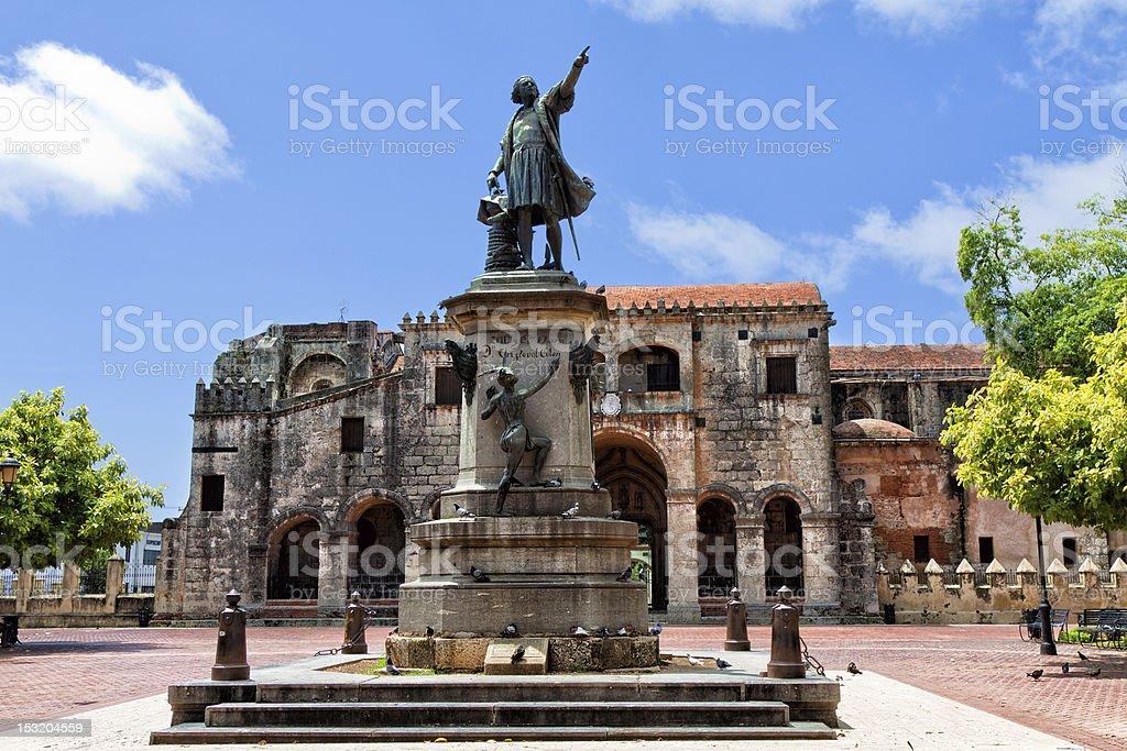 Statue outside the Catedral Primada de America Santo Domingo stock photo