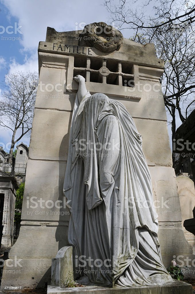 Statue, Pere LaChase Cemetery, Paris, France stock photo