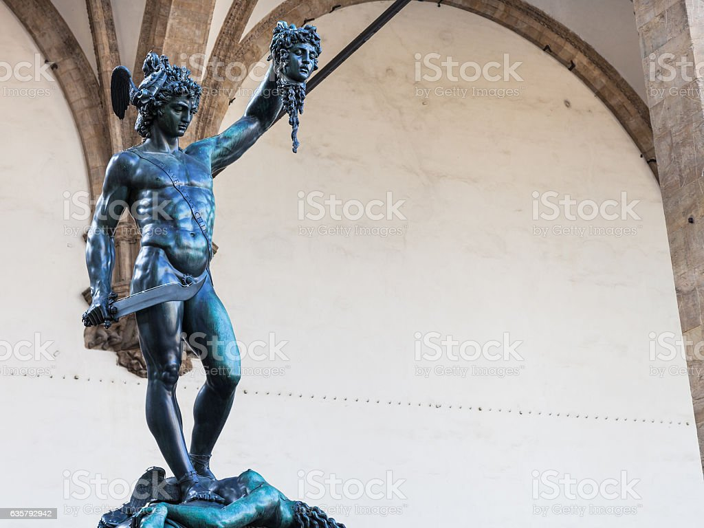 Statue Perseus With The Head Of Medusa On Piazza Stock Photo