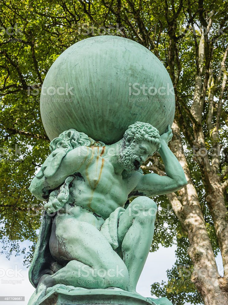 Statue representing Hercules stock photo
