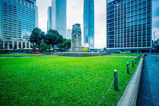 Statue Square is a public pedestrian square in Central,Hong Kong.Two International Finance Center in the background.