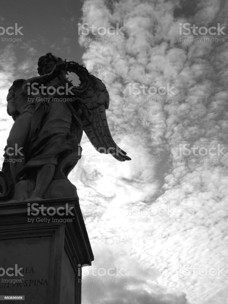 A statue,Castle of the Holy Angel stock photo