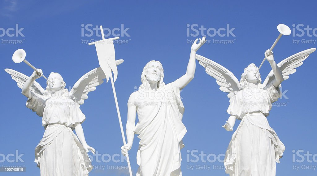 Statue-Jesus Christ with Angels stock photo