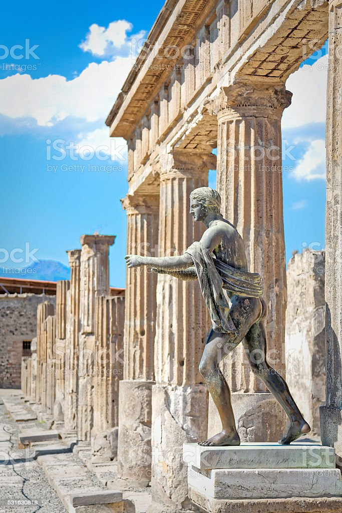 Statues and columns temples of Pompeii stock photo