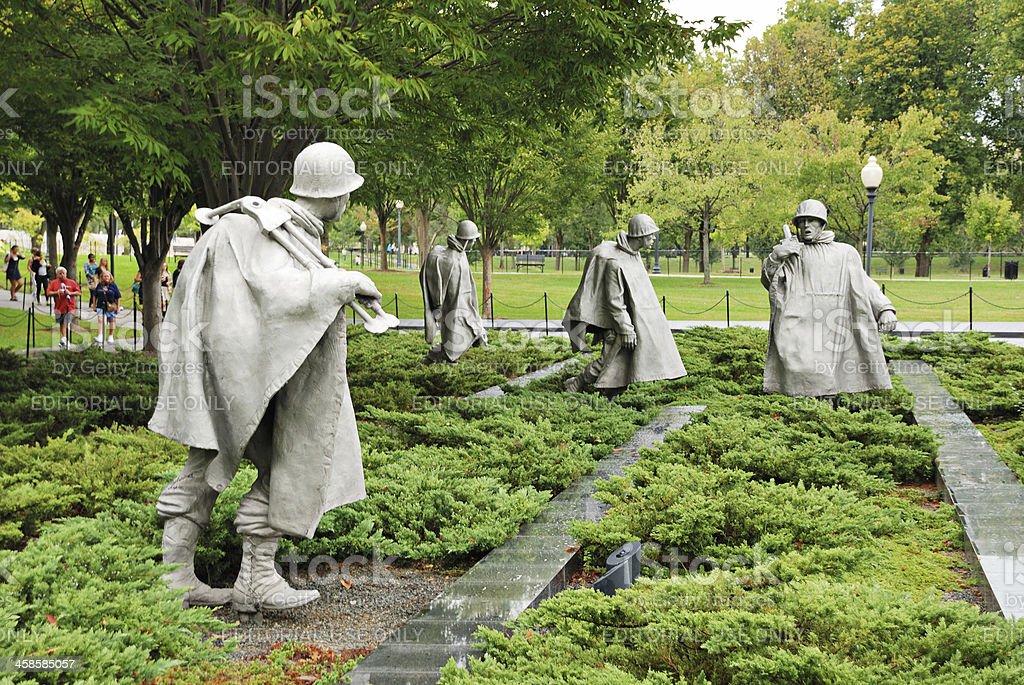 Statues at Korean War Veterans Memorial in Washington royalty-free stock photo