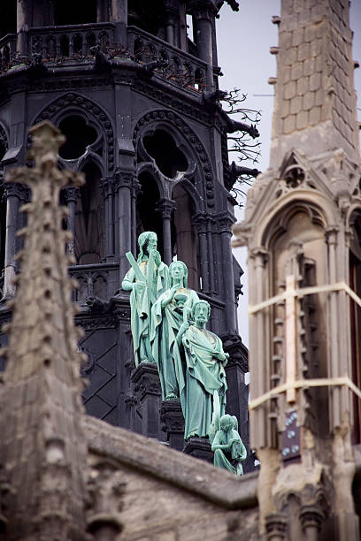 Statues at Notre Dame stock photo